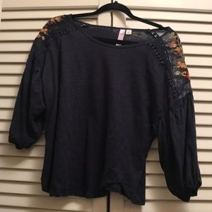 Sheer Top with floral embroidered